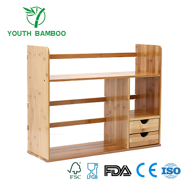 Bamboo Desk Organizer Shelf With Two Drawers