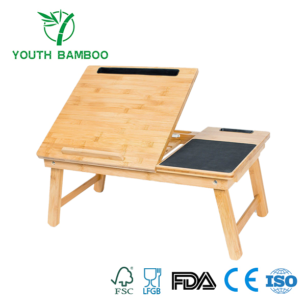 Bamboo Laptop Adjustable Desk With Mouse Pad