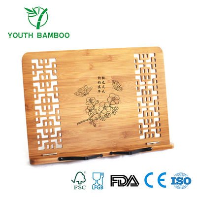 Bamboo Foldable Book Stand With Hollow Pattern